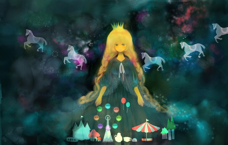 Photo wallpaper animals, girl, anime, crown, horse, art, Ferris wheel, rides, carousel