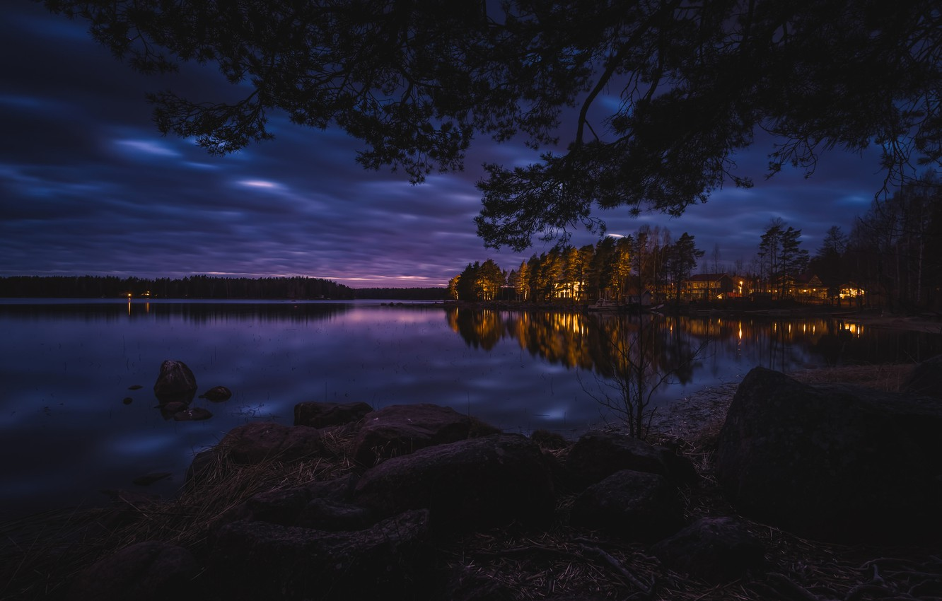 Photo wallpaper forest, night, lights, lake, boat, home
