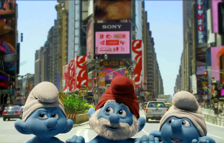 Photo wallpaper the city, New York, street, look, Smurfs, gnomes, The Smurfs, Smurfs, caps
