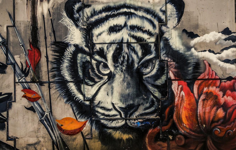 Photo wallpaper tiger, wall, paint, graffiti