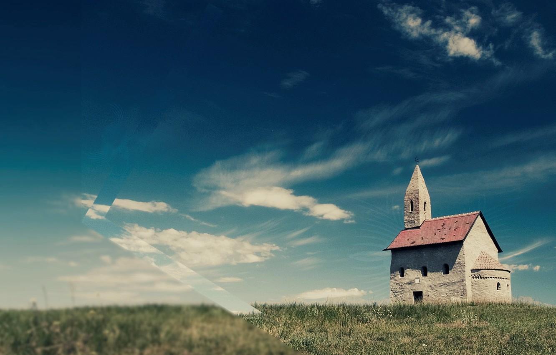 Photo wallpaper field, the sky, grass, clouds, Church