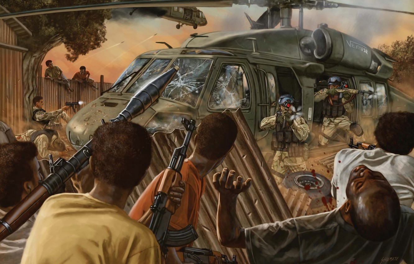 Photo wallpaper machine, helicopter, soldiers, Africa, Negros, Black Hawk Down