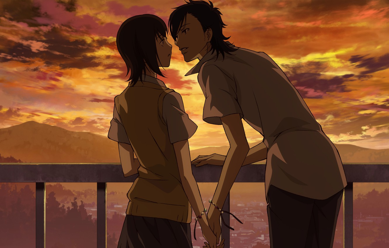 Photo wallpaper girl, clouds, sunset, pair, guy, lovers, school uniform, Say I love you, almost kiss, holding …