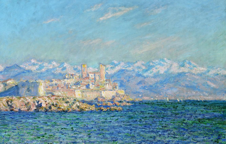Photo wallpaper sea, snow, landscape, mountains, France, picture, Claude Monet, Antibes