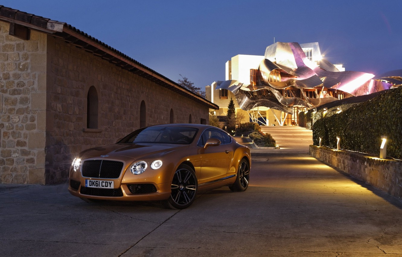 Photo wallpaper roof, the sky, lights, coupe, the evening, continental, bentley, twilight, the front, Bentley, continental