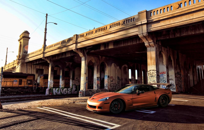 Photo wallpaper orange, bridge, graffiti, train, Z06, Corvette, Chevrolet, Chevrolet, Corvette, orange, painting