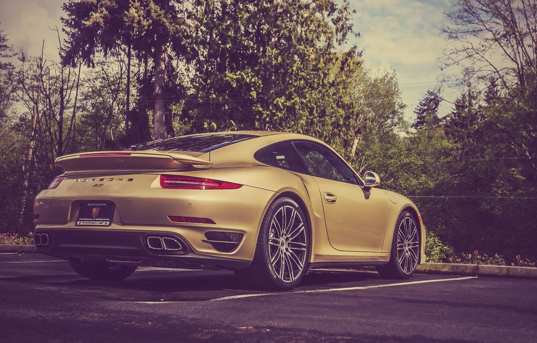 Photo wallpaper 911, Porsche, Porsche, Parking, Gold, Supercar, Lime, Turbo, Parking, Supercar, Gold, Lime
