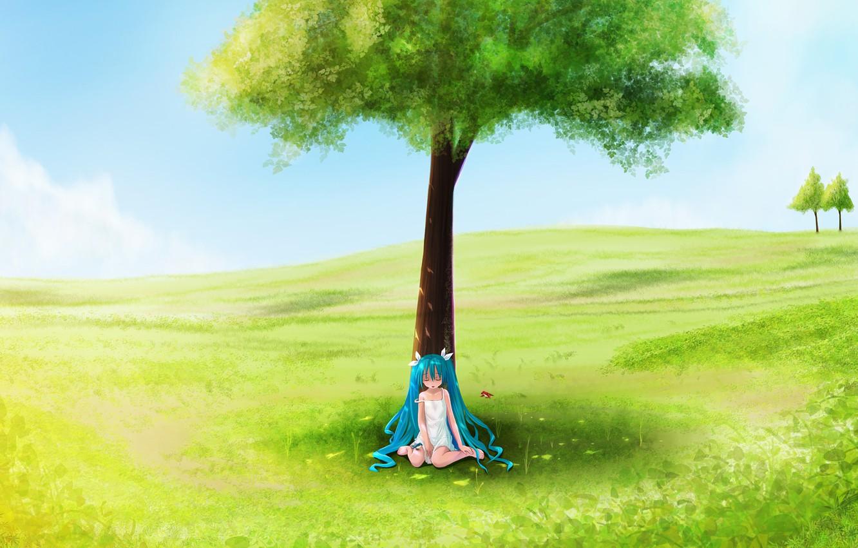 Photo wallpaper field, summer, tree, girl