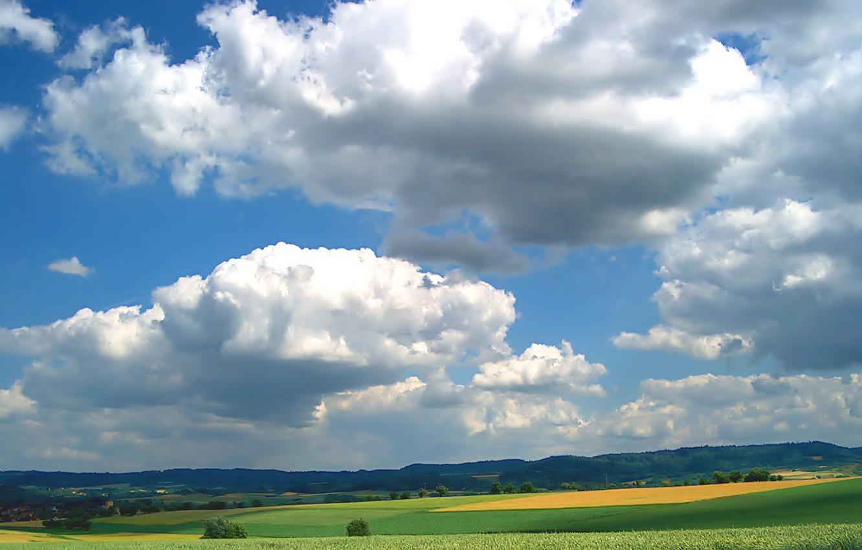 Photo wallpaper Greens, Clouds, Field