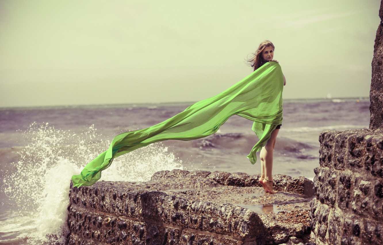 Photo wallpaper sky, sea, backgrounds, women, sunlight, shine, dress images, brunette wallpapers