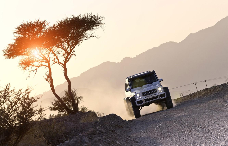 Photo wallpaper the sun, sunset, Mercedes-Benz, Mercedes, AMG, AMG, G-Class, 6x6, W463, 2015