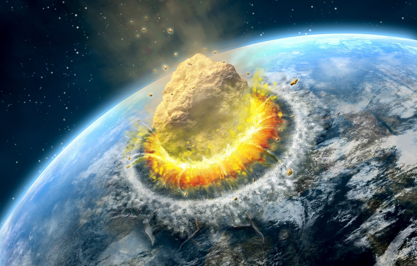 Photo wallpaper planet, end of the world, meteor, collision