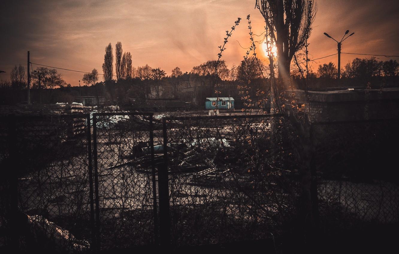 Photo wallpaper sadness, the sun, sunset, yellow, the city, garbage, dark, dark