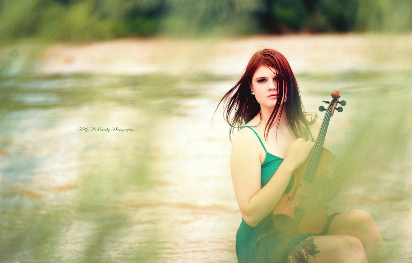 Photo wallpaper girl, music, violin