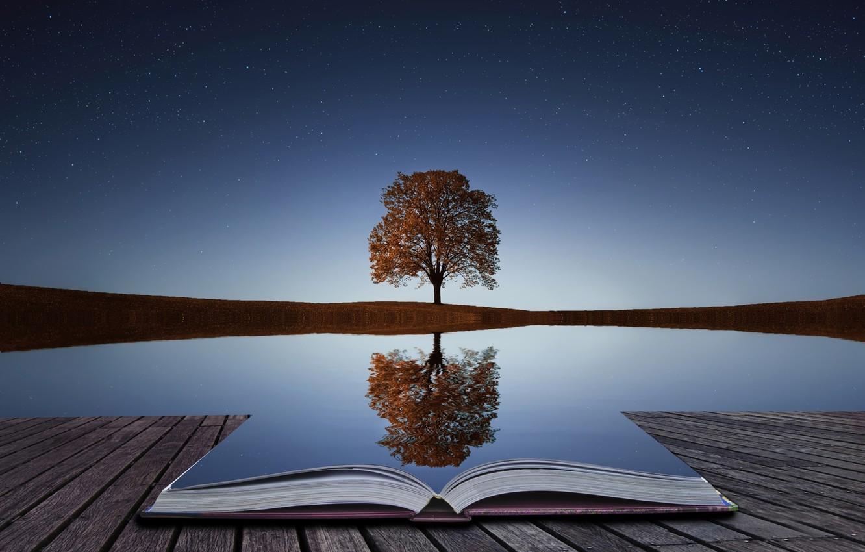 Photo wallpaper water, reflection, tree, book