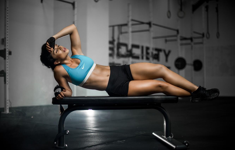 Photo wallpaper girl, bench, face, hair, body, figure, sports, legs, Luz