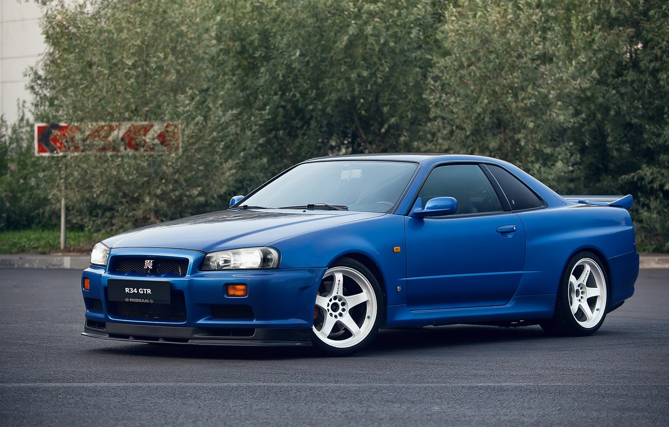 Photo wallpaper GTR, Nissan, Blue, Skyline, R34, V-SPEC