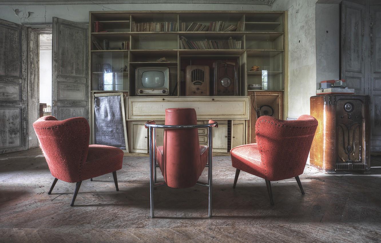 Photo wallpaper table, chairs, radio, door, TV, shadows, sunlight
