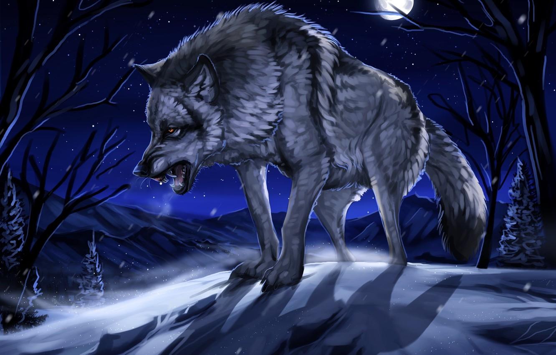 Photo wallpaper winter, forest, snow, night, the moon, figure, wolf, art, grin