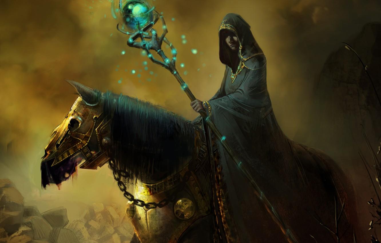 Photo wallpaper horse, magic, art, hood, MAG, staff, armor, cloak, the sorcerer