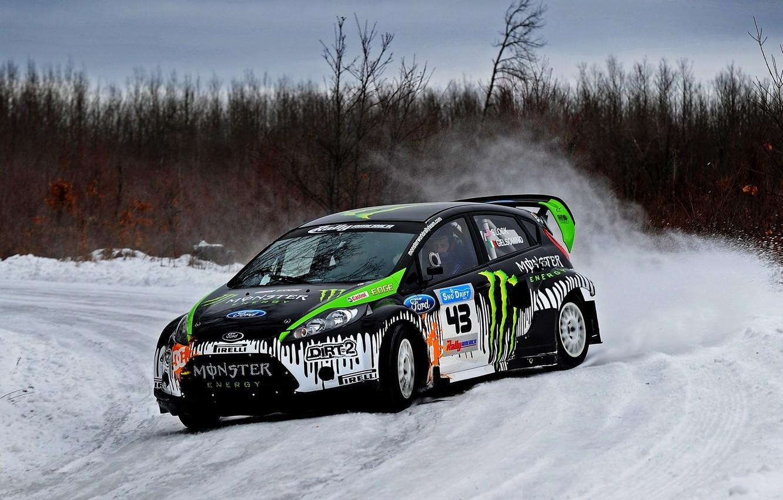 Photo wallpaper Ford, Winter, Auto, Trees, Snow, Forest, Ford, Skid, Drift, Rally, Block, Ken, Fiesta, Fiesta, Unit, …