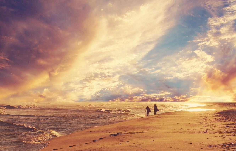 Photo wallpaper sand, sea, wave, beach, the sky, people, shore, horizon, surfing, walk