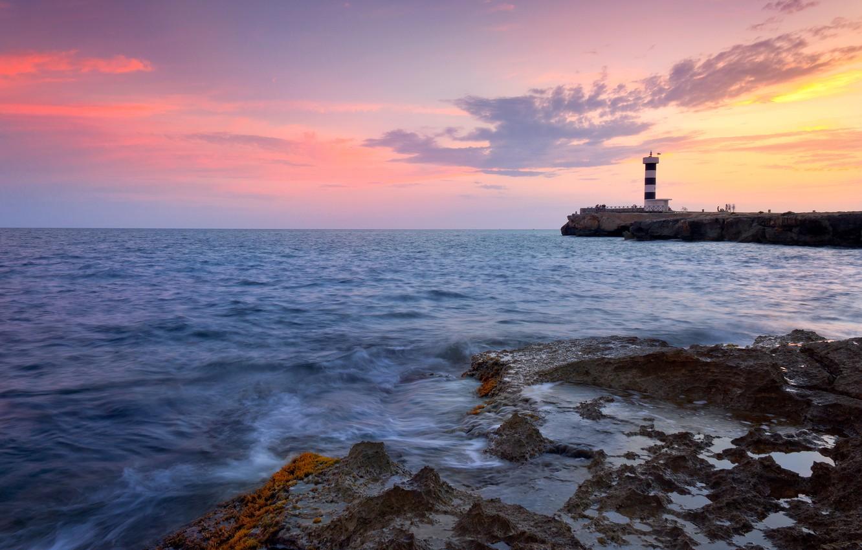 Photo wallpaper sea, wave, the sky, water, clouds, landscape, sunset, nature, rocks, paint, shore, colors, waves, sky, …