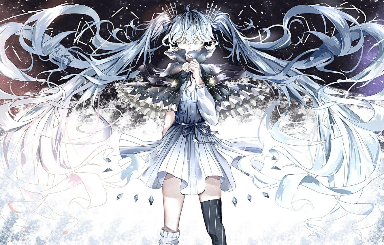 Photo wallpaper girl, hair, anime, art, crystals, vocaloid, hatsune miku