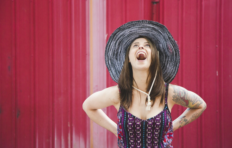 Photo wallpaper girl, joy, face, background, hair, hat, mouth, dress