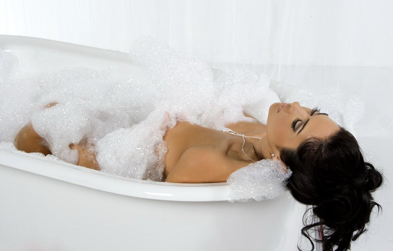 Photo wallpaper foam, girl, hair, brunette, bathroom