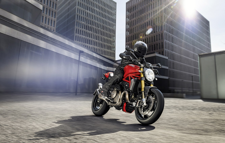Photo wallpaper city, red, Ducati, Monster, moto, road, bike, Legend, classic