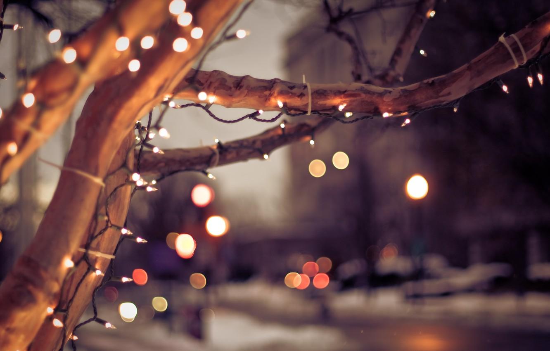 Photo wallpaper winter, the city, lights, tree, mood, Christmas, Christmas, light bulb, tree, bokeh