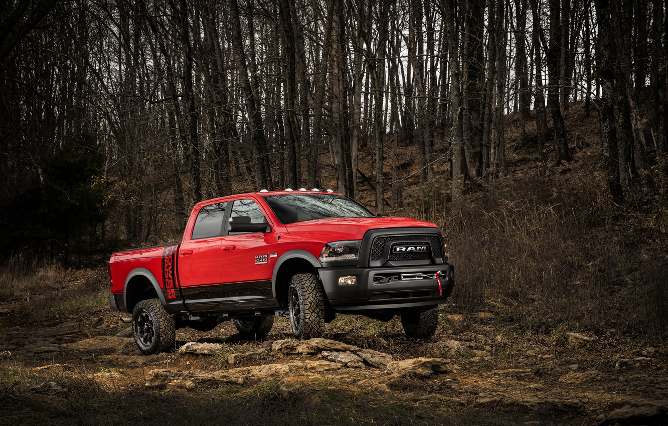 Photo wallpaper forest, red, stones, SUV, Dodge, pickup, Ram, 2500