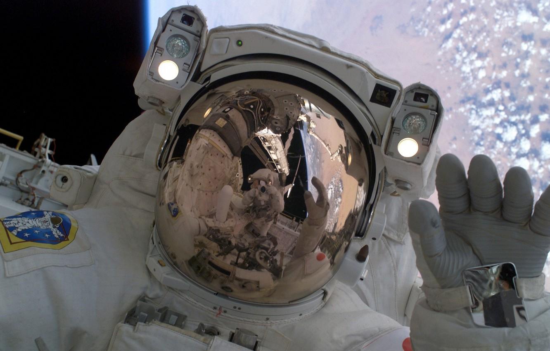 Photo wallpaper space, astronaut space suit orbit