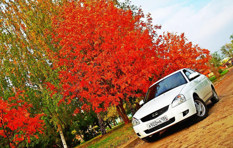 Photo wallpaper machine, auto, autumn, Lada, auto, Lada, prior, VAZ, priora, VAZ