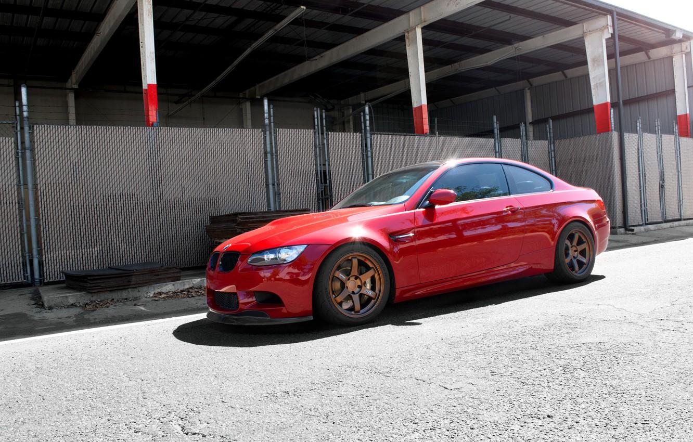 Photo wallpaper red, bmw, BMW, wolf, red, wheels, drives, Blik, e92, people, ogradjena