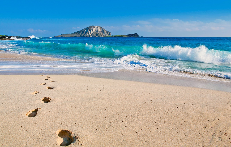 Photo wallpaper winter, sea, wave, beach, the sky, traces, rock, the ocean, mountain, Hawaii, USA, The Pacific …