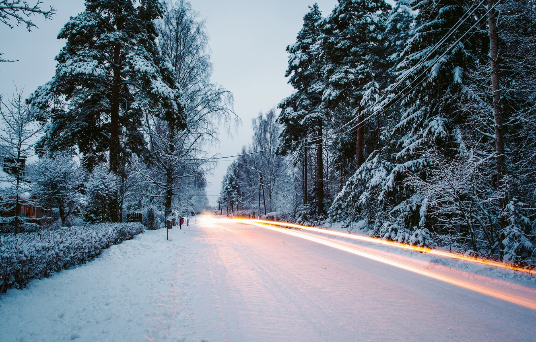 Photo wallpaper winter, road, snow, trees, nature, tree, excerpt