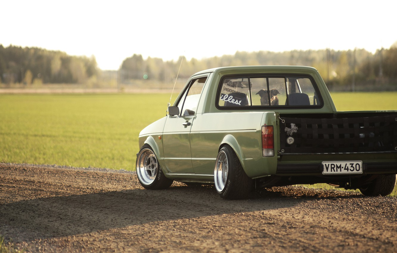 Photo wallpaper road, the sun, shadow, Volkswagen, wheel, back, the countryside, tail lights, Caddy