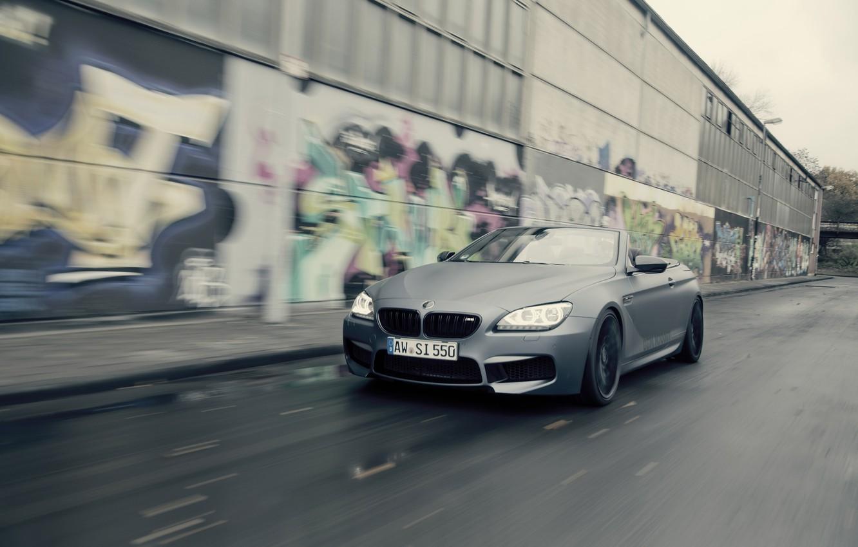 Photo wallpaper road, car, machine, graffiti, BMW, speed, Cabrio