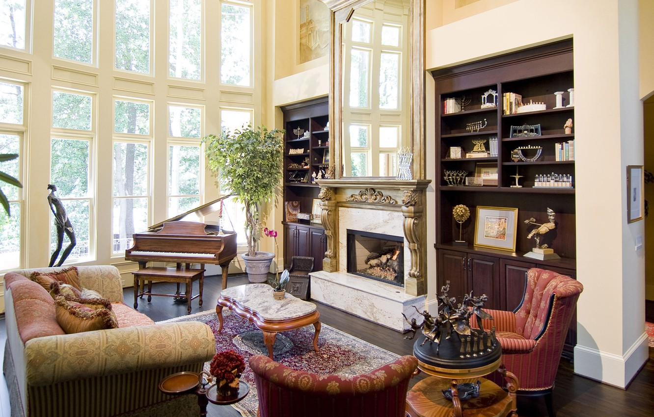 Picture of: Wallpaper Room Sofa Windows Plants Pillow Mirror Chairs Fireplace Table Figures Living Room Cabinets Figurines Images For Desktop Section Interer Download