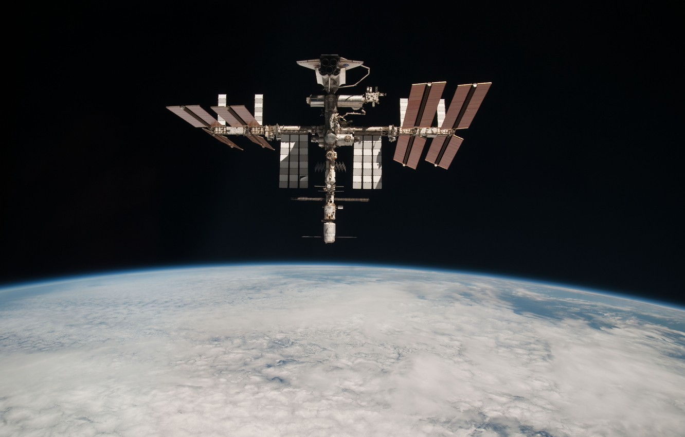 Photo wallpaper space, clouds, planet, station, the atmosphere, ISS, abyss, Shuttle