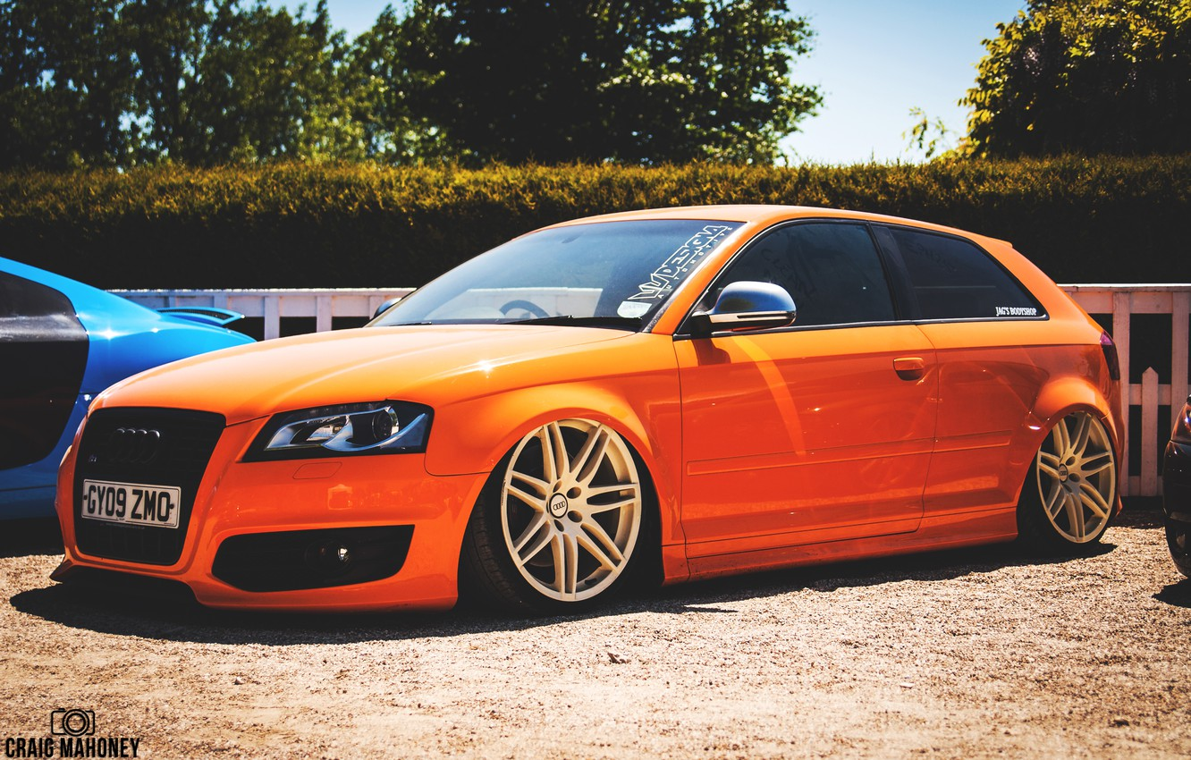 Photo wallpaper Audi, orange, stance