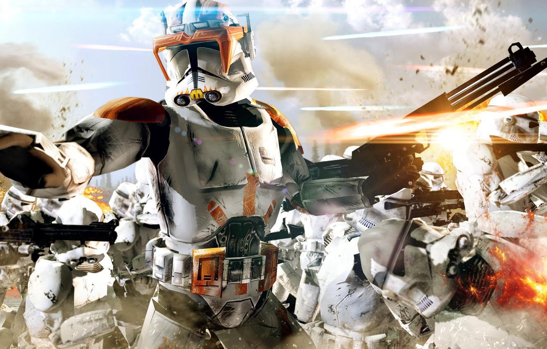Photo wallpaper cinema, Star Wars, fire, battlefield, flame, gun, soldiers, sky, weapon, war, cloud, man, army, movie, …
