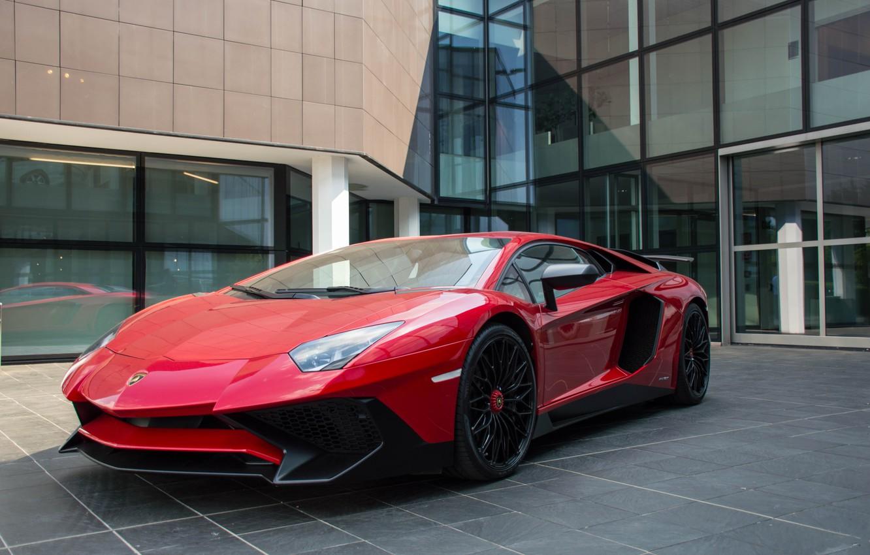 Photo wallpaper Lamborghini, Red, Aventador