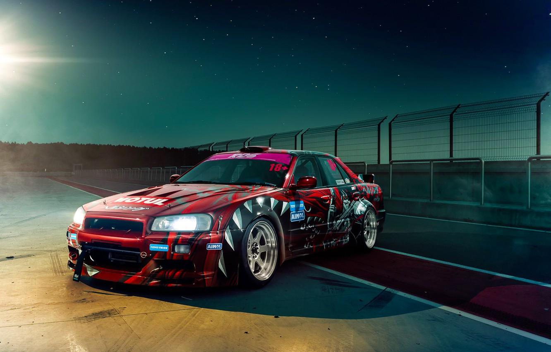 Photo wallpaper GTR, Nissan, Drift, Car, Night, Skyline, R34, Track, Raceway