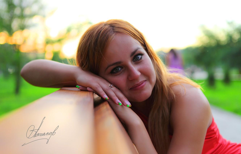 Photo wallpaper eyes, girl, smile, lips, shop, sitting, looks, photographer Alexander Astapov