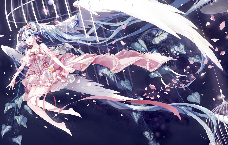 Photo wallpaper girl, joy, flowers, swing, wings, cell, anime, petals, art, vocaloid, hatsune miku, amatsukiryoyu