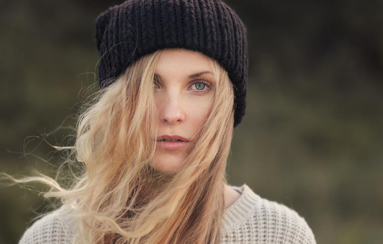 Photo wallpaper eyes, girl, eyelashes, the wind, model, hat, hair, blonde, jacket, binding