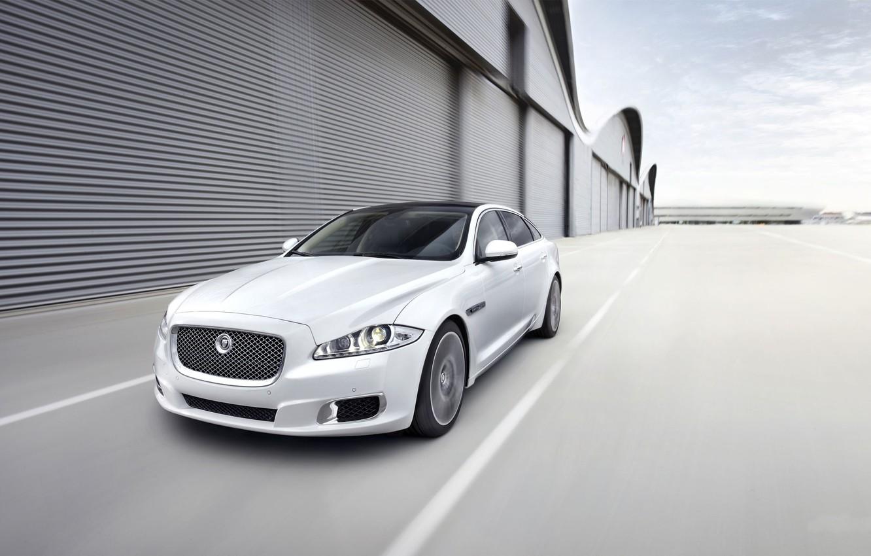 Photo wallpaper Jaguar, White, Machine, The front, Blur